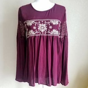 Embroidered Boho Bell Sleeve Top Burgundy